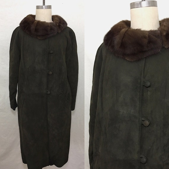 Vintage 60s Suede and Mink Coat Size Small