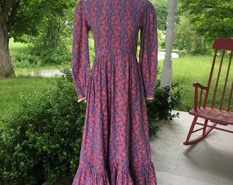 RARE 1970s Laura Ashley Floral Prairie Dress Pink & Purple Ruffles Lace Long Sleeves High Neck Maxi Medium/Large