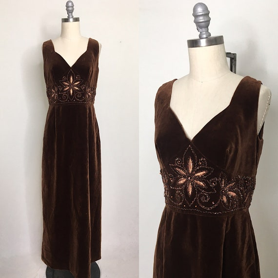 Vintage 70s Brown Velvet Maxi Dress Size Medium