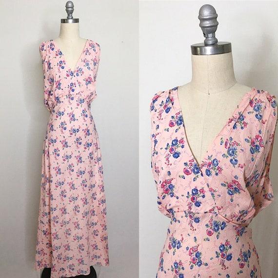 Vintage 30s Volup Bias Cut Rayon Slip Dress Size X