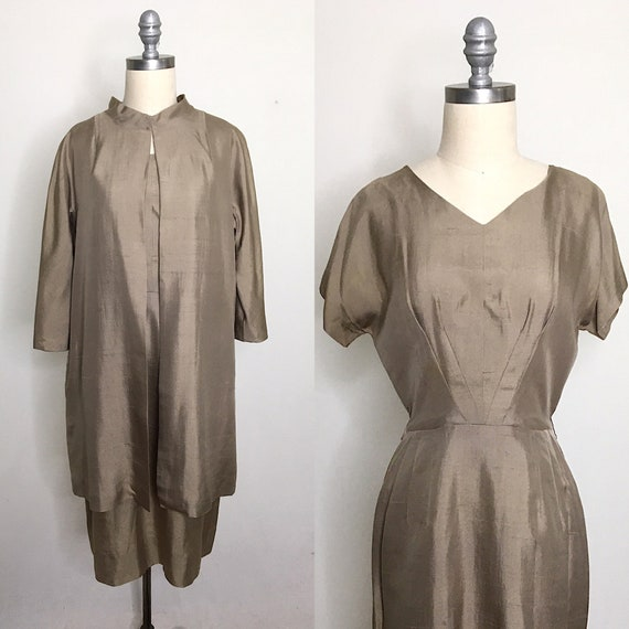 Vintage 40s Raw Silk Dress & Duster Set Size Small