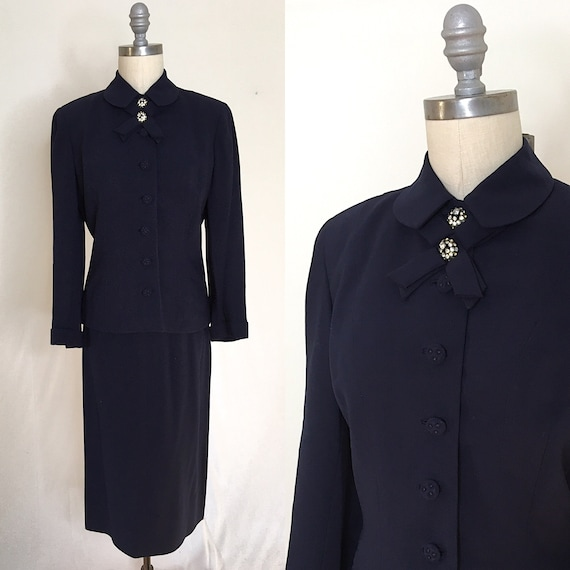 Vintage 40s 50s Seymour New York Skirt Suit Size M