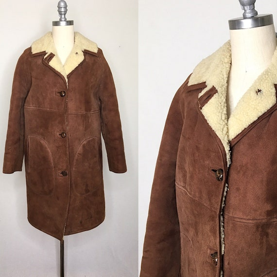 Vintage 70s Brown Shearling Coat Size Medium