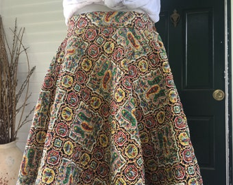 1950s Quilted Folk Paisley Circle Skirt Small
