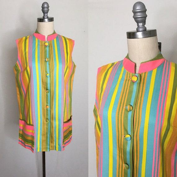 Vintage 60s Beachcomber Rainbow Stripe Coverup Siz