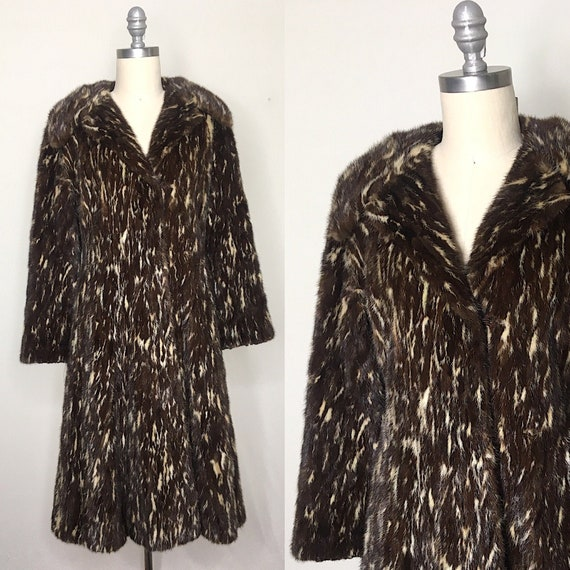 Vintage 1950s Spotted Mink Fur Princess Coat Size