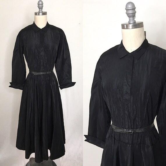 Vintage 40s Pintuck Pleated Black Taffeta Dress Si