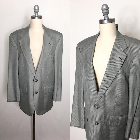 Vintage 80s Burberry Cotton Houndstooth Blazer Lar