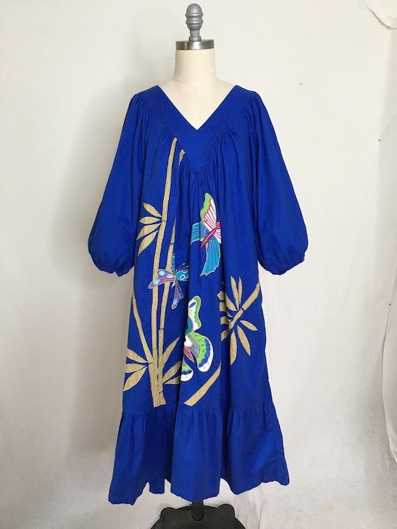 Vintage 80s Ramona Rull Butterfly House Dress Siz… - image 2