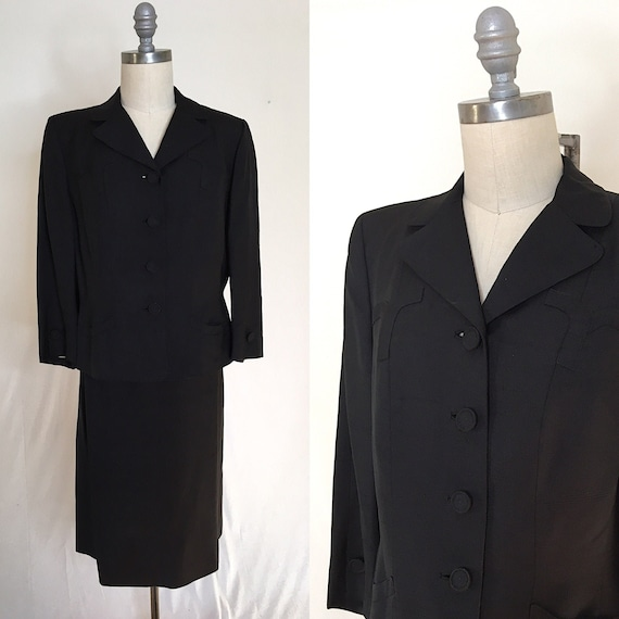Vintage 40s 50s David Ow R.H. Stearns Skirt Suit S