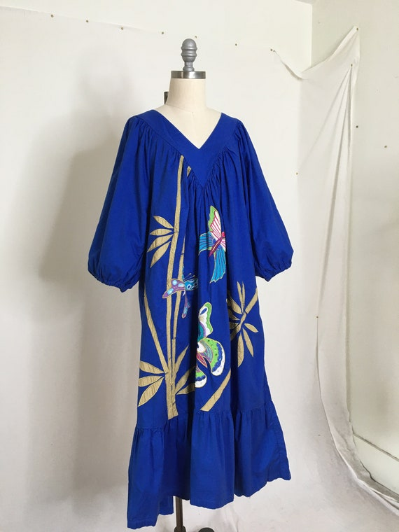 Vintage 80s Ramona Rull Butterfly House Dress Siz… - image 3