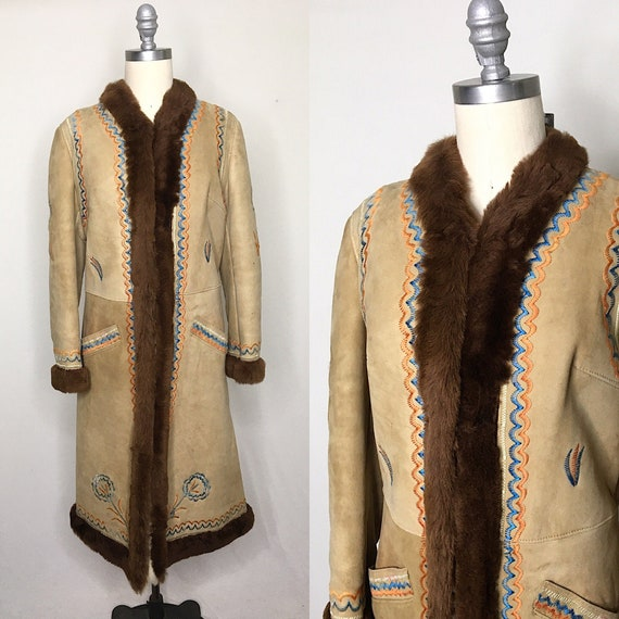 Vintage 70s Embroidered Shearling Coat Size Medium