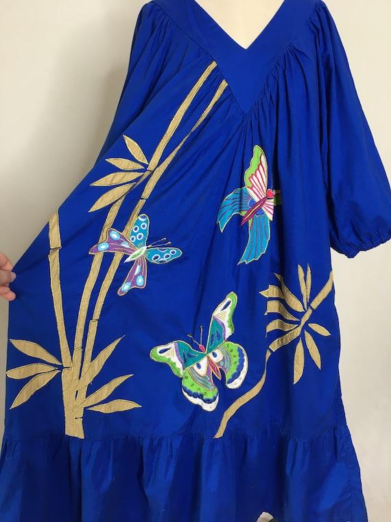 Vintage 80s Ramona Rull Butterfly House Dress Siz… - image 5