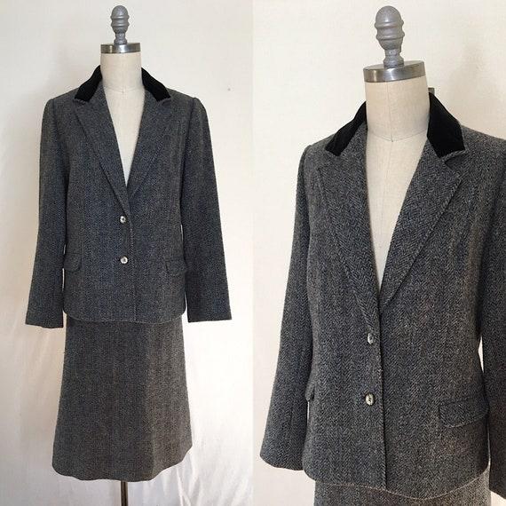 Vintage 60s Custom Tweed Wool Skirt Suit Size Larg