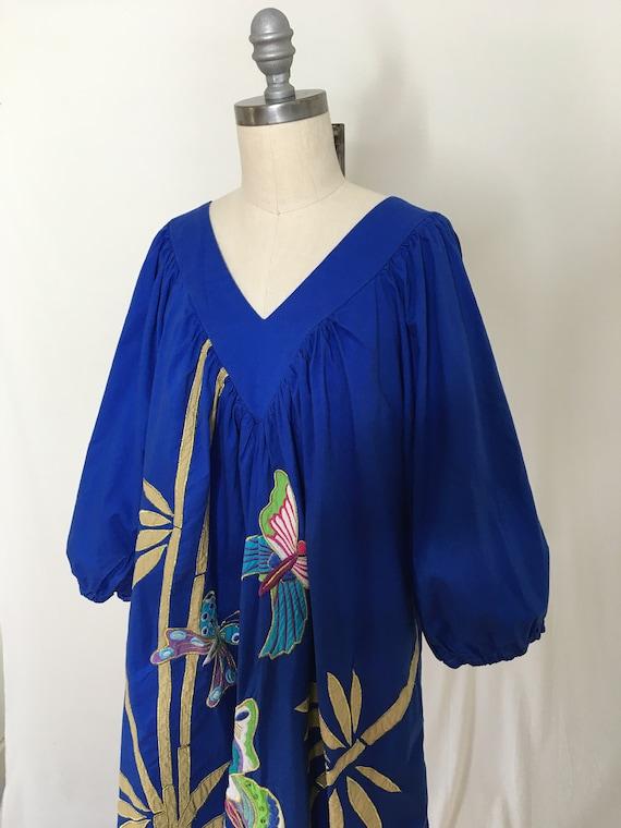 Vintage 80s Ramona Rull Butterfly House Dress Siz… - image 4