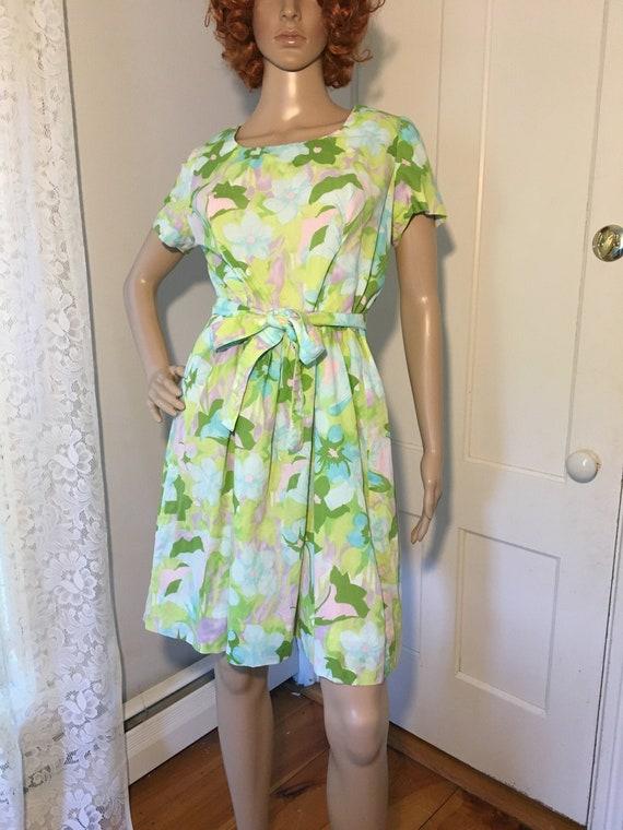 Vintage 60s Leiter's Floral Fit & Flare Sundress M