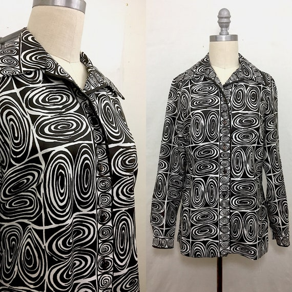 Vintage 60s Alex Coleman Brown White Swirly Blouse