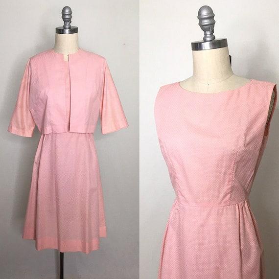 Vintage 60s Pink Swiss Dot Dress & Jacket Set Size
