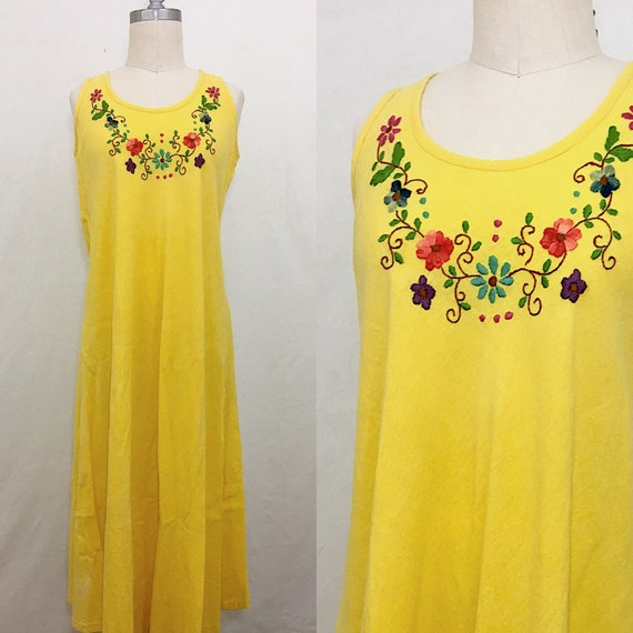 Vintage 70s Mexican Yellow Cheesecloth Embroidered