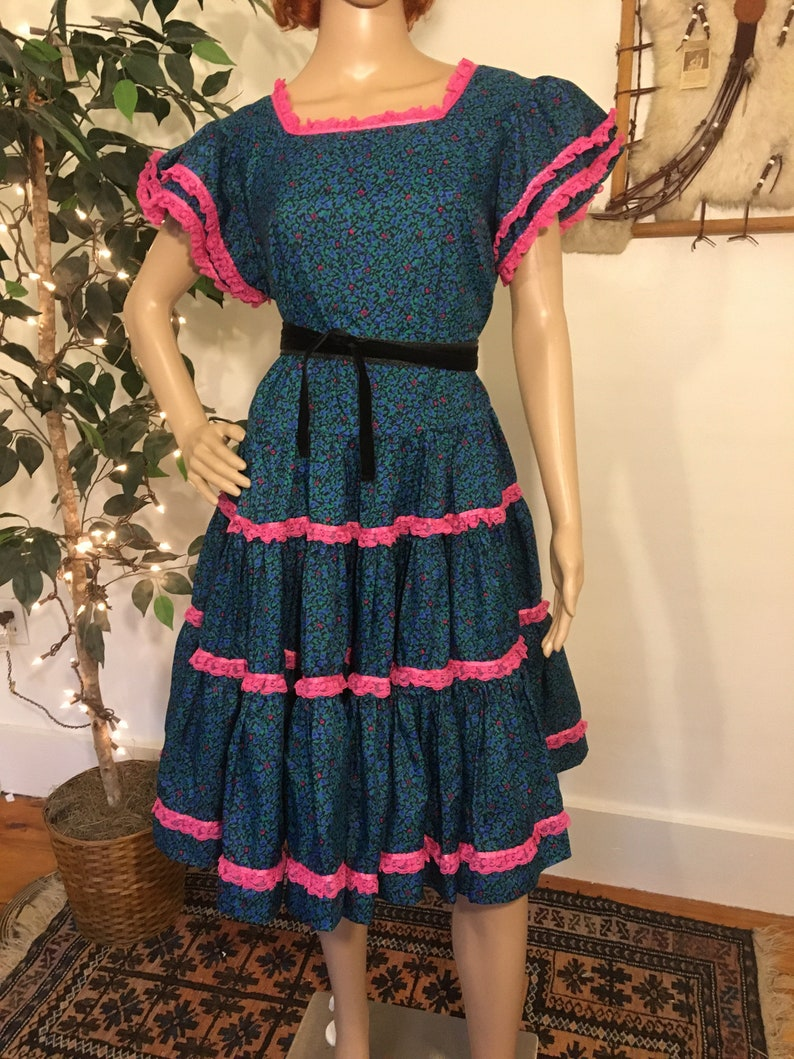 a815be1ecbb Vintage 1980s 80s does 50s Rodeo Square Dance Floral Sundress