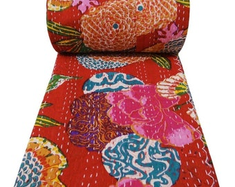 New Indian Cotton Kantha Quilt Twin Bedding Bedspread Throw Reversible Blanket