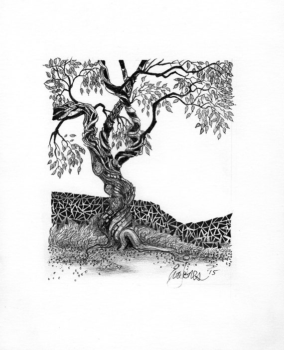 Abstract Miniature Tree Art Landscape Drawing Black Pen And Ink On White Paper Giclee Print Part Of Collection Minitree Ii