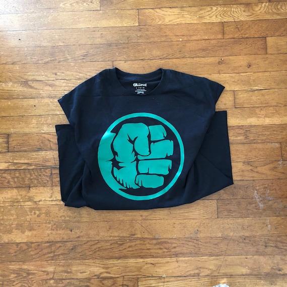 T Shirt Poing Hulk Super Heros Avengers Noir Vert Vente