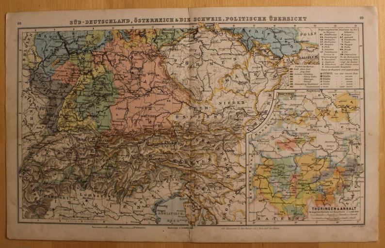 Map Of South Germany.Original Vintage Map Of South Germany Austria Switzerland 1909 German World Geography Art History Anniversary Gift Atlas Historic
