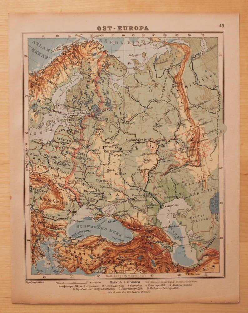 Vintage Map of Eastern Europe, 1927, World Geography, History, Anniversary  Gift, Atlas, Historic, Map, World, Travel, Europe