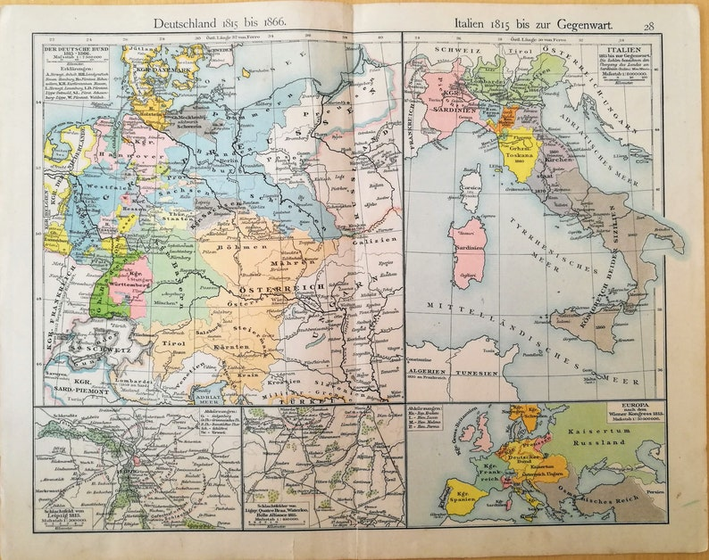 Map Of Germany 1815.Original Vintage Map Germany 1815 1866 Italy 1815 1897 Etsy