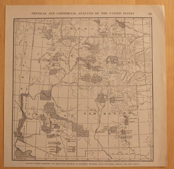 Original Vintage Map Irrigation Projects Wyoming Utah Colorado Arizona &  New Mexico 1906, World Geography, Art, Gift, Atlas, Historic US Map