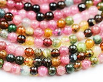 "Natural Tourmaline, 4.5mm Colorful Natural Tourmaline Gemstone Round Beads, 16"", 0.8mm hole-GEM2893"