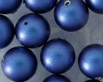 Iridescent Dark Blue Swarovski Crystal Pearls 6mm, 8mm