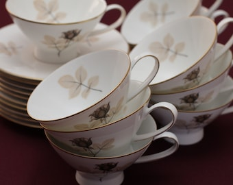 Footed Cup & Saucer Shadow Rose by Rosenthal tea set for 10