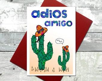 Cactus card - leaving card - Retirement card - Adios amigo cactus card - Bon voyage - cactus gift card - Cacti illustration - A6