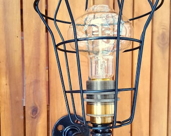 Wall lamp steampunk industrial style applique with red valve etsy