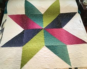 Handmade Confetti Star Sofa Throw Lap Quilt