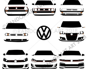 Volkswagen Golf GTI mk1 to mk8, illustration, download, printable, vw, Father's Day,