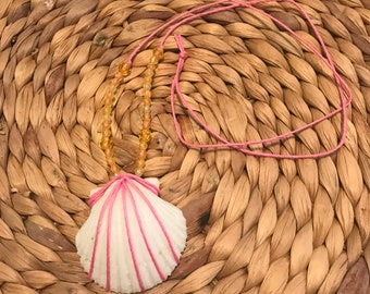 Handmade Pink and Yello Shell Necklace