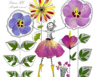 floral, fairies, colorful, quirky, home decor, wall decor, art print, modern, botanical, elegant, blossoms, cute, nursery decor, bright
