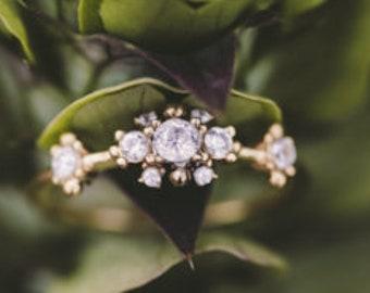 antique Victorian white diamond engagement ring