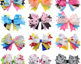 Loopy Staked Girl's Hair Bows - 12 piece set