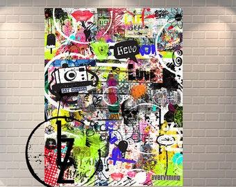 Items similar to Sacred Heart - Graffiti Love Heart Flames - Street
