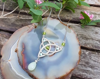 Celtic knot with jade ,howlite and crystal beads  ,wire wrapped technique