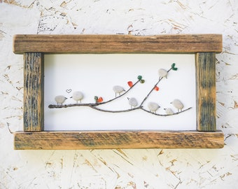 Pebble art-  A picture of birds on a branch, made of sea stones / pebbles, a recycled wooden frame 24.5*13.5 centimeters