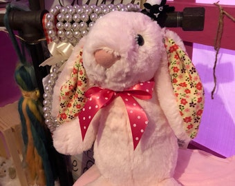 Soft bunny with flower print ears and feet