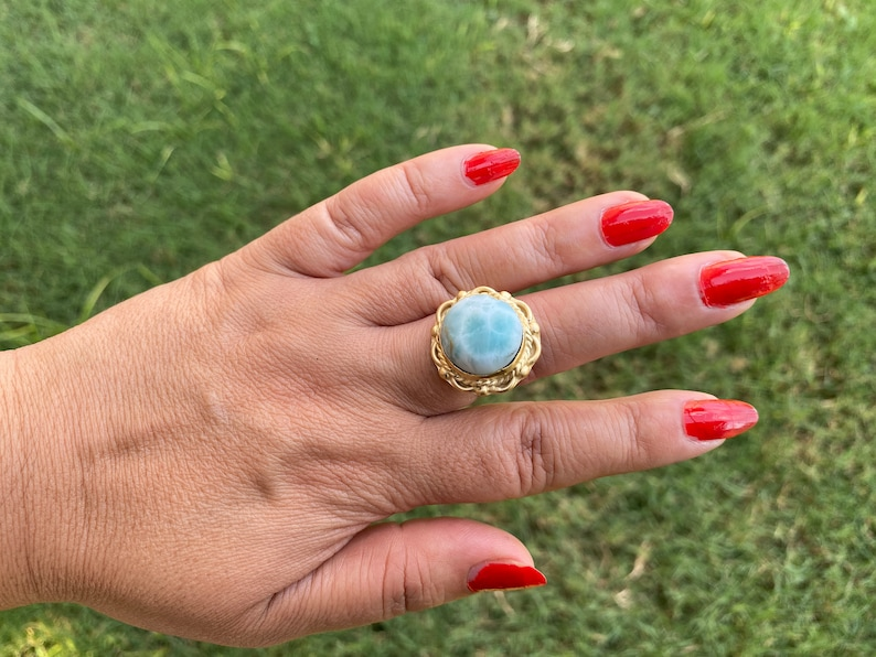 Women Jewelry Ring Bohemian Jewelry,Energy Stone Ring Natural Stone Handmade Ring 14K Brushed Gold Overlay Large Adjustable Larimar Ring
