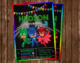 Pj Masks Invitation Birthday Party Superheroes Superhero Hero Mask Personalized Printable Digital File