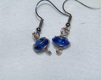 Blue stone wrap earrings