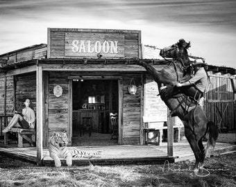 Cowboy At Saloon Print